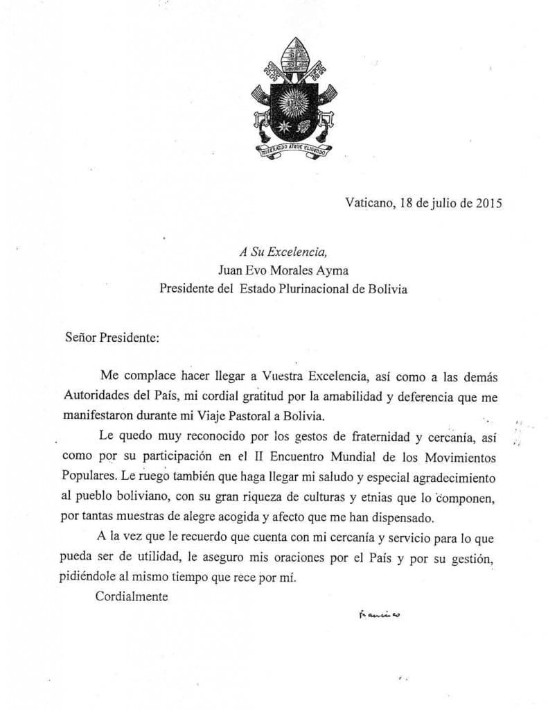la carta del pope