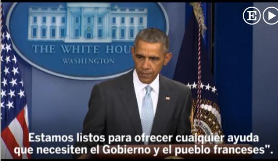 """Ataques en París: Obama dice que los atentados son """"un ataque contra la humanidad"""""""