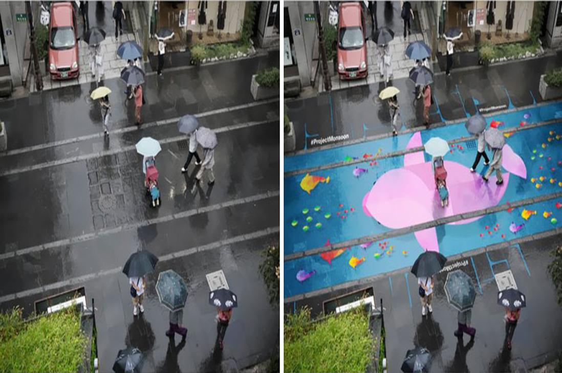 Graffittis mágicos que aparecen con la lluvia