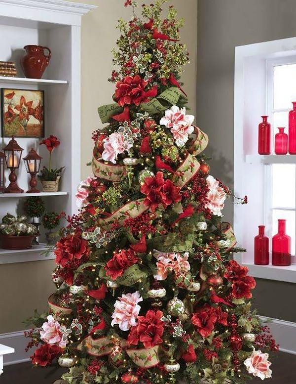 ideas-decoracion-arbol-navidad-flores-8