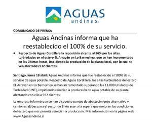 Comunicado Aguas Andina