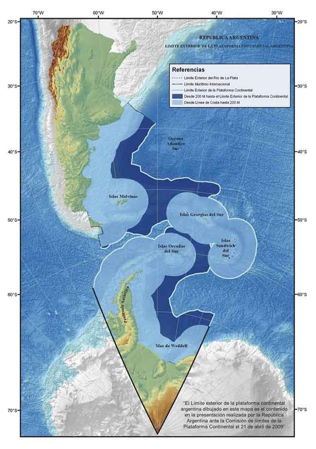 Mapa argentino de la Plataforma Continental que  se extiende hasta el Pacífico y se superpone al Territorio  antártico Chileno  por el Atlántico llega hasta las islas Malvinas/Falklands.