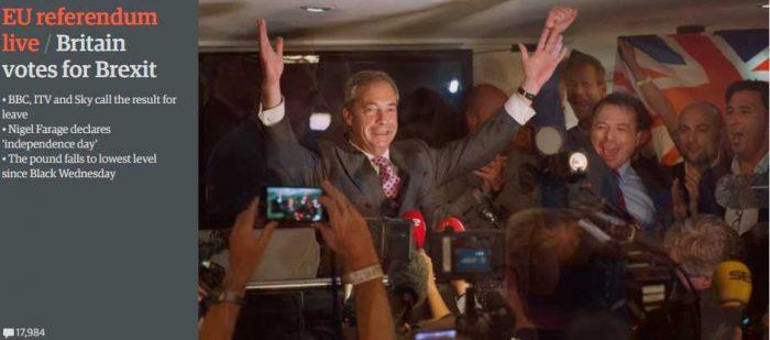 El líder del UKIP (Partido de la Independencia del Reino Unido),  Nigel Farage declara la victoria del 'Brexit'.