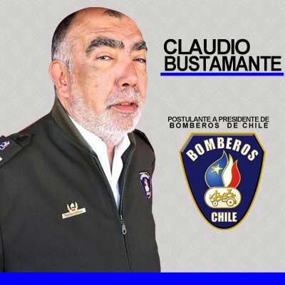 Con esta imagen Bustamante se candidatea para presidir a los Bomberos de Chile.