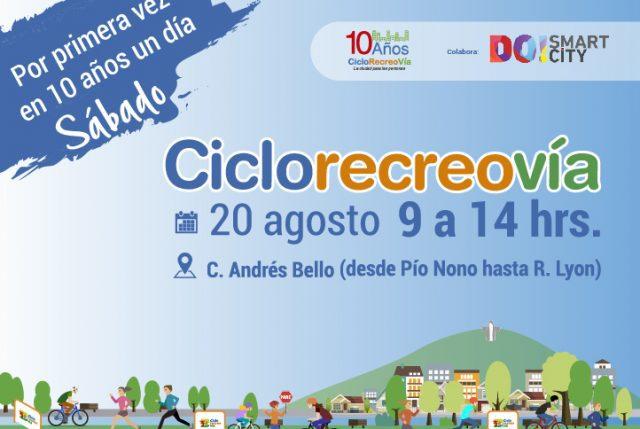 CicloRecreoVía habilitará Costanera Andrés Bello para ciclistas y patinadores este sábado 20 de agosto
