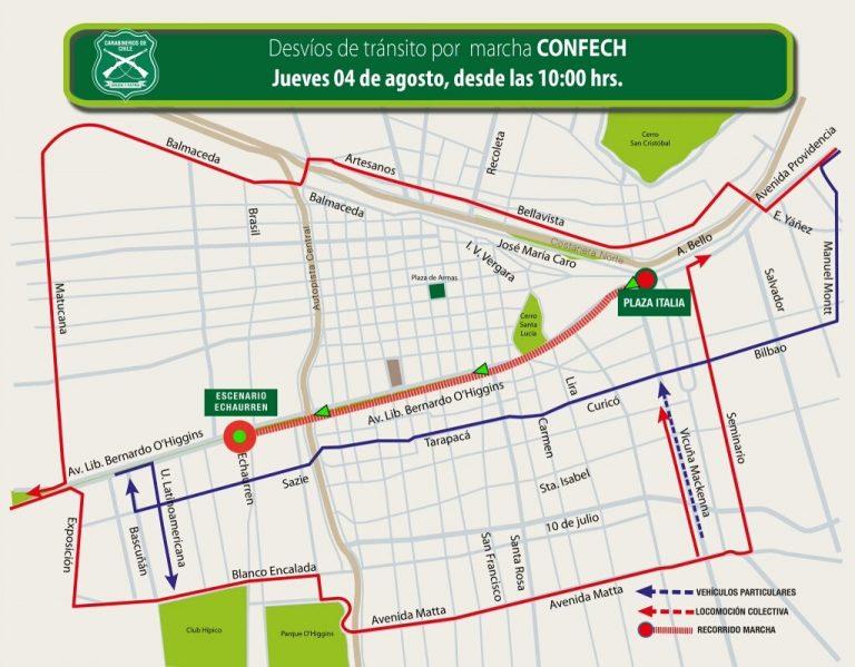 Estos son los desvíos de tránsito para este jueves por marcha de la Confech