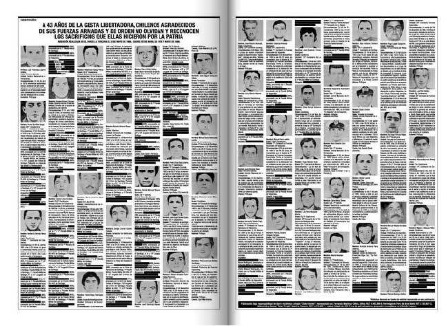 La Tercera publica provocadora inserción de 47 víctimas militares entre 1978 y 1986