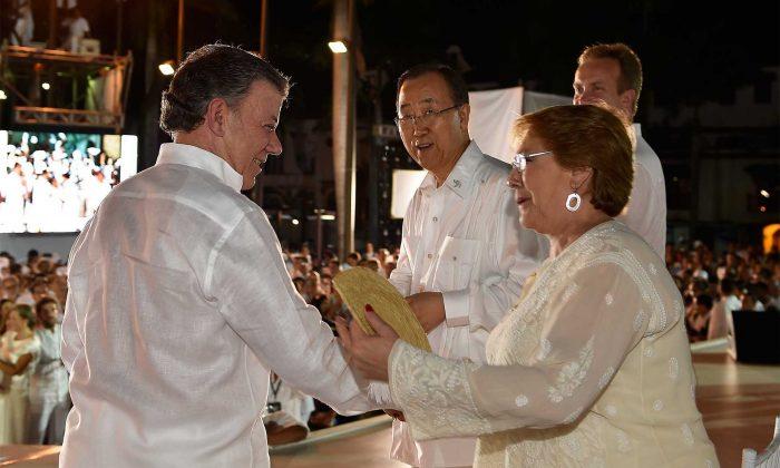 El Presidente de Colombia, junto a la Presidenta de Chile y el Secretario General de la ONU.
