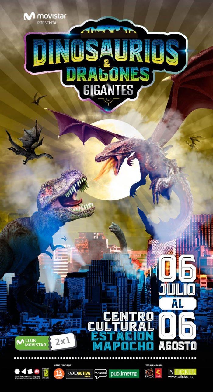 Afiche Dinos y dragones generico