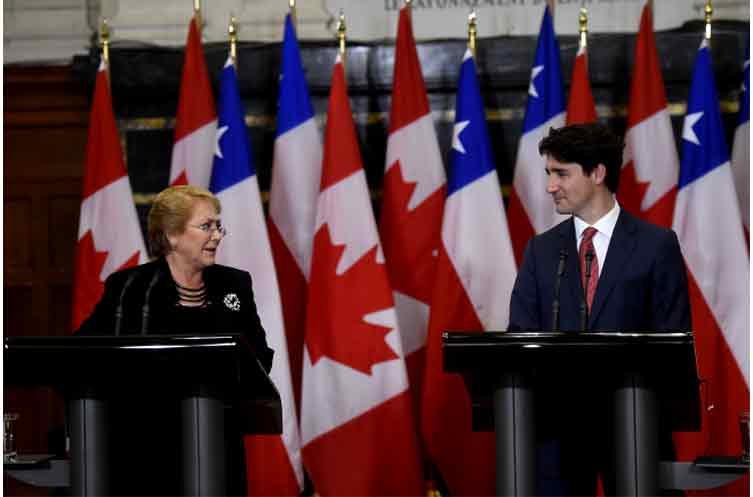 """Bachelet: """"Chile y Canadá son fuertes partidarios del sistema multilateral de comercio y la integración regional"""""""