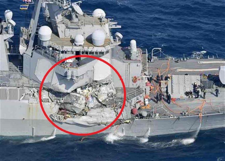 Destructor de la Marina de EE.UU. choca con carguero filipino: Hasta ahora siguen 7 marinos del USS Fitzgerald desaparecidos y serios daños en el navío