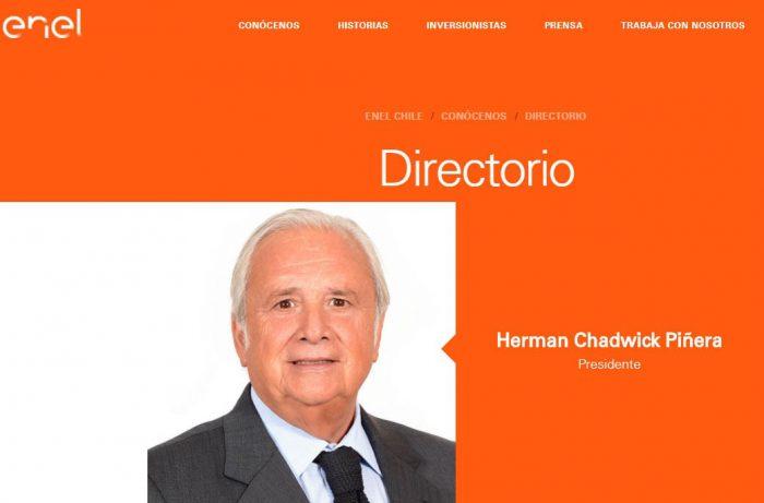 Pantallazo de la página del directorio de Enel Chile.
