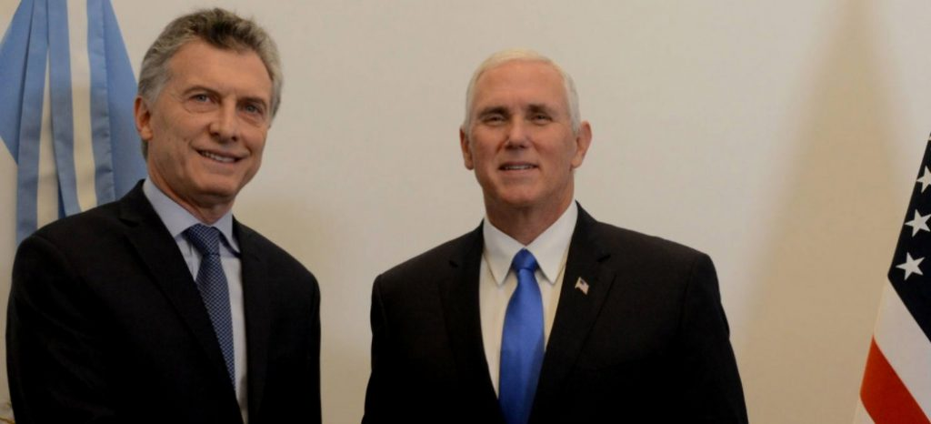 Vicepresidente de EEUU llega a Buenos Aires y le da espaldarazo a políticas de Macri y lanzó nueva advertencia a Venezuela