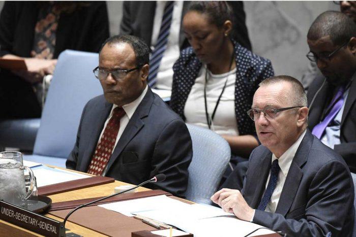 Jeffrey Feltam, el Secretario General Adjunto de la ONU para Asuntos Políticos, informa sobre Corea del Norte. (Foto: ONU / Evan Schneider)