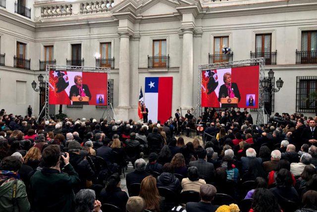 """Presidenta Bachelet encabezó acto homenaje en el 44° aniversario del 11 de Septiembre en La Moneda: """"No permitiré que el legítimo anhelo de justicia sea visto como revanchismo"""""""