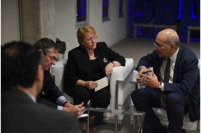 En el estadio Allianz Parque de Sao Paulo, la Presidenta de la República, Michelle Bachelet, sostuvo un encuentro con el  ministro de Relaciones Exteriores (S) de Brasil, Marcos Galvao.