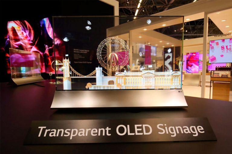 LG presentó un OLED transparente junto a otros sin bordes y video walls en la feria ISE 2018
