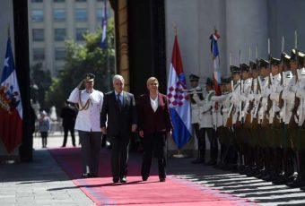 Primera visita  oficial a Presidente Piñera: Presidenta de Croacia inició visita de Estado