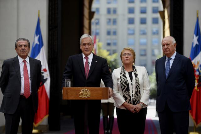 Pdte. Piñera conversa con Bachelet y se reúne con exmandatarios Lagos y Frei