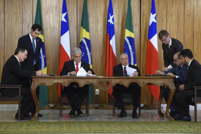 Presidentes Piñera y Temer formalizan mesa de trabajo para un Acuerdo de Libre Comercio Chile – Brasil