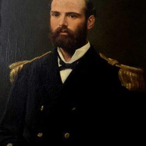 Arturo Prat Chacón, comandante de la Esmeralda, arenga a la tripulación el 21 de mayo de 1879