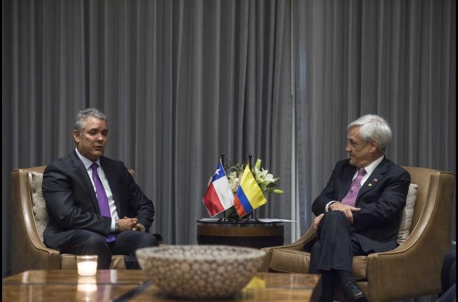 Presidente Piñera sostiene bilaterales con nuevo Mandatario de Colombia y su par de Argentina