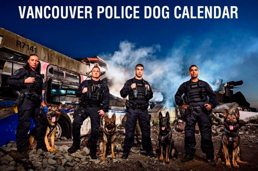 Unidad canina de la policía de Vancouver acaba de sacar su calendario benéfico de 2019