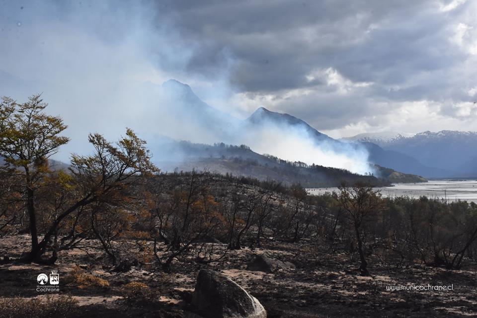 Las cenizas que deja el incendio en Colonia Sur, Cochrane, Patagonia Chilena