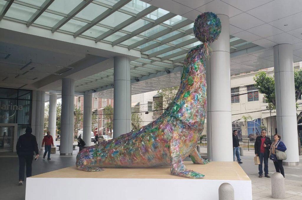 Escultura de foca hecha de plástico sorprende a los viñamarinos