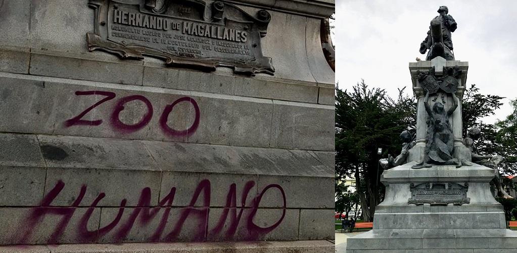 Hasta en Punta Arenas llegan los rayadores de monumentos: Rayan emblemático monumento a  Hernando de Magallanes