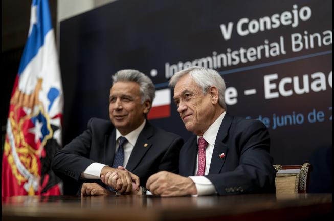 Pdtes. Piñera y Moreno firman acuerdo comercial e integración entre Chile y Ecuador para potenciar el desarrollo