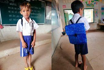 Profesor comparte fotos de la mochila que fabricó el padre de uno de sus alumnos