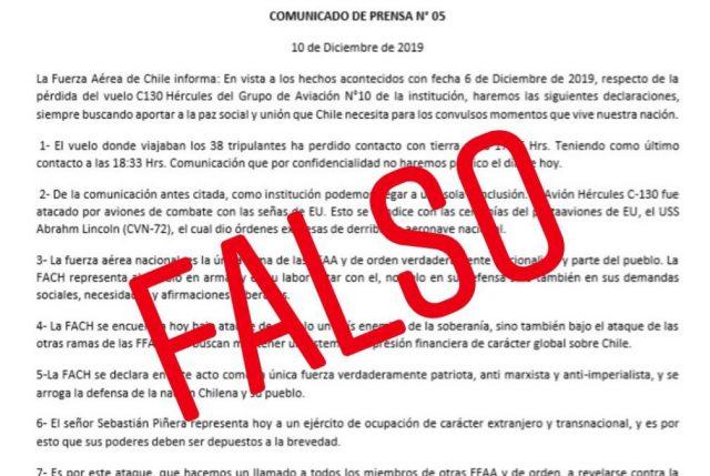 FACh desmiente delirante falso comunicado que acusó a EE.UU. del derribo de avión Hércules que iba a la Antártica
