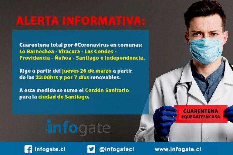 Declaran cuarentena en 7 comunas de Santiago a contar de las 22 horas de este jueves 26