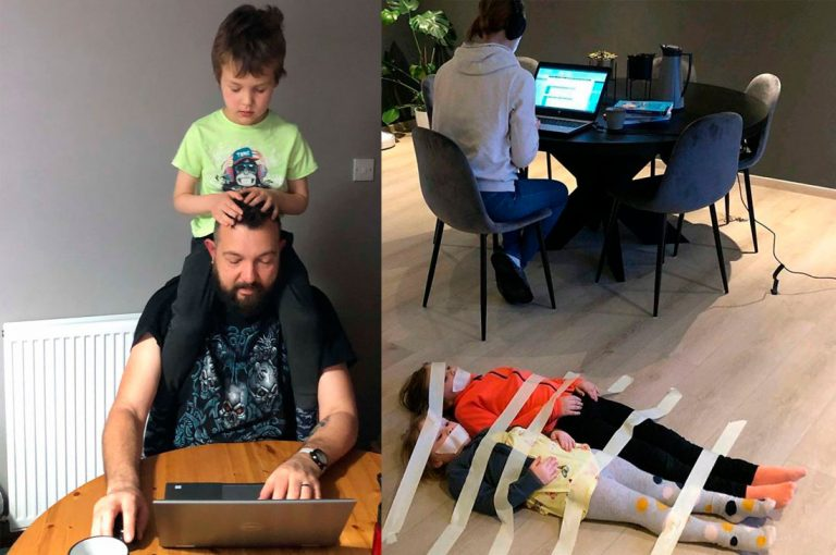 Divertidas fotos de padres pasando la cuarentena en casa con sus hijos