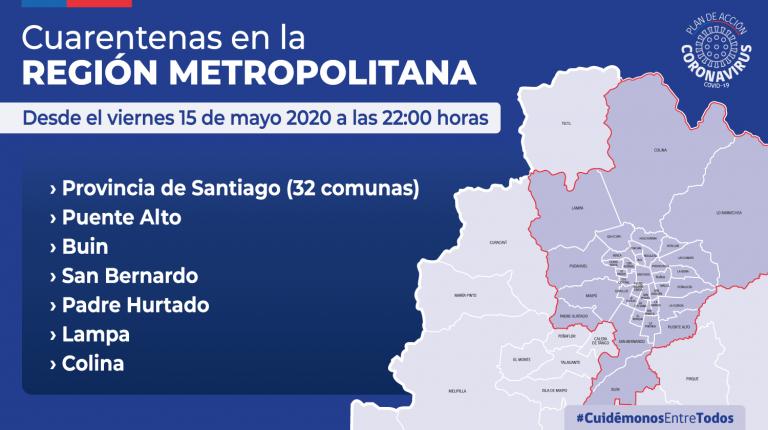 Más de 6,5 millones de personas en cuarentena en el Gran Santiago a partir del viernes