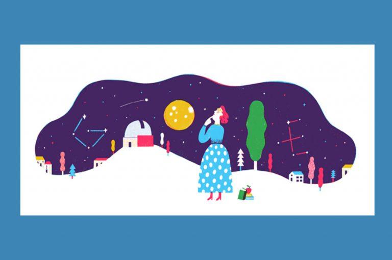Ilustrador Pablo Luebert diseña el doodle que homenajea hoy a astrofísica chilena Adelina Gutiérrez