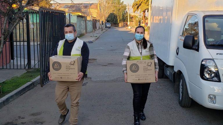 Familias vulnerables de Pudahuel reciben donación de canastas de alimentos