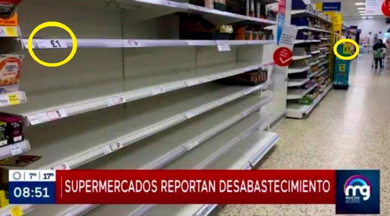 Falta a la ética: Mega difunde imágenes de desabastecimiento de Inglaterra como si fuera un efecto del paro de camioneros en Chile
