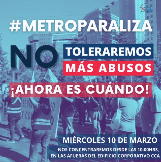 Sindicato de Metro anuncia paro de actividades para este miércoles