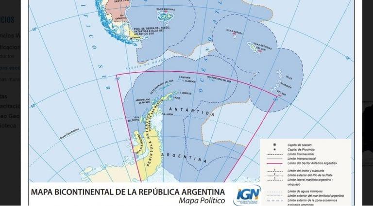 Nuevo mapa oficial argentino incluye zonas chilenas