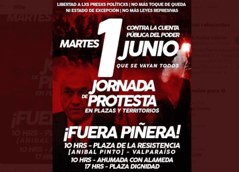 Organizaciones convocan a protestar contra cuenta pública de Presidente Piñera