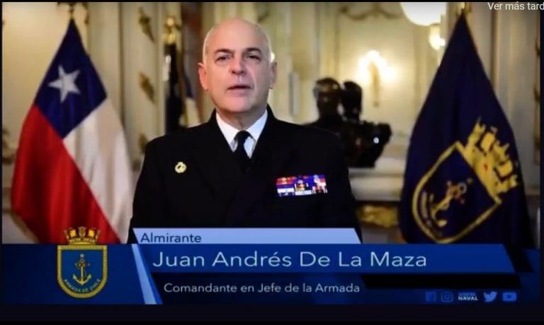 """VIDEO: Almirante Juan Andrés De La Maza fija 4 ejes para su gestión destacando, entre otros, """"la probidad y transparencia; y el Plan de Construcción Naval"""""""