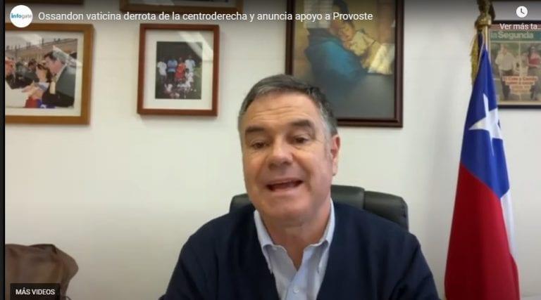Ossandón vaticina derrota de la centroderecha y anuncia apoyo a Provoste