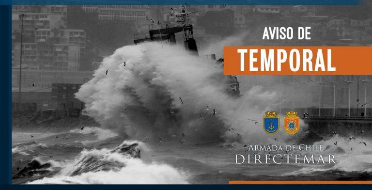 Armada da aviso de mal tiempo y temporal desde Coquimbo a Faro Guafo