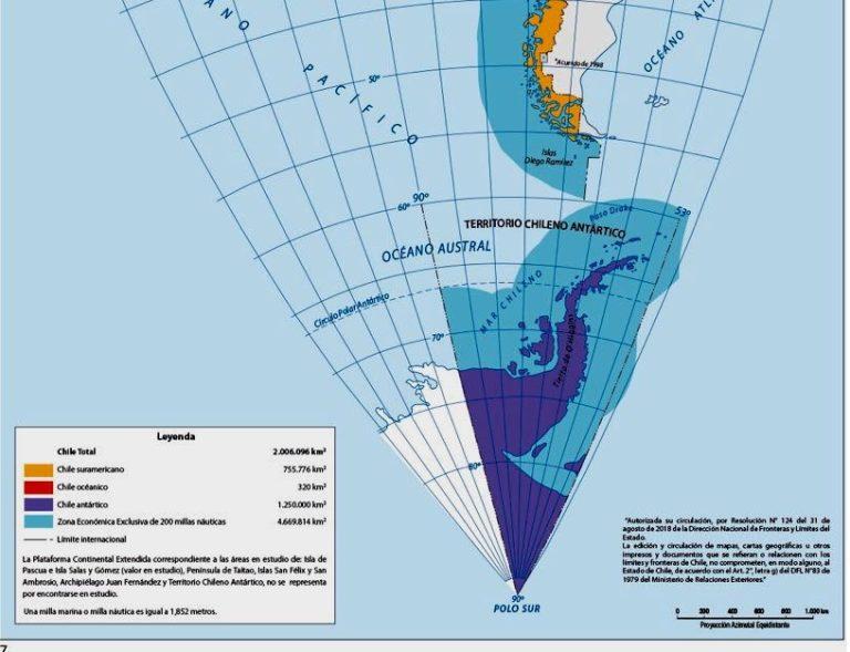 Problemas de límites con Argentina: El mar en la proyección Antártica y el Campo de Hielo Sur