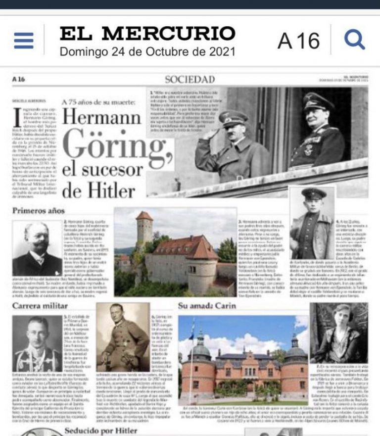 Embajada de Alemania rechaza exaltación al creador de la Gestapo nazi hecho por El Mercurio