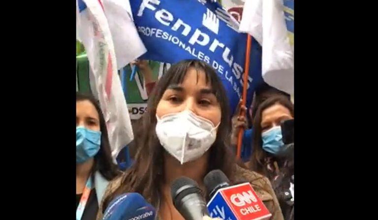 Trabajadores de la salud protestaron frente al Minsal exigiendo aumento del presupuesto sectorial 2022